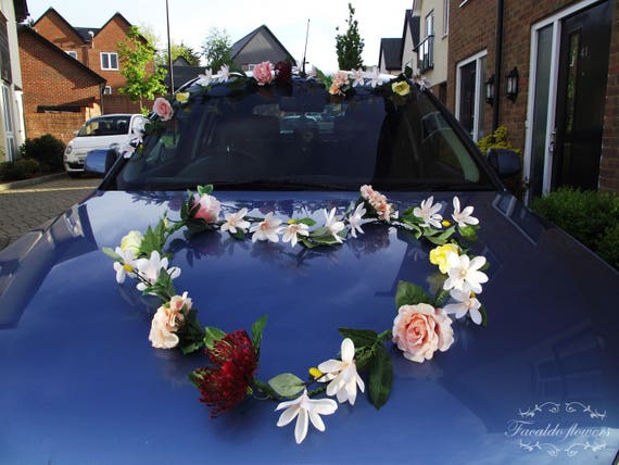 Minimalist wedding car decoration artificial flowers garland like this item junglespirit Image collections