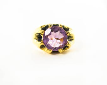 Victorian 14k Yellow Gold on Sterling Silver 2ct Amethyst Belcher Ring G21 - Antique Inspired from Original Mold