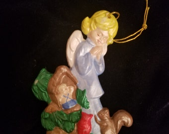 Vintage Angel Praying Christmas Ornament - Hand Painted