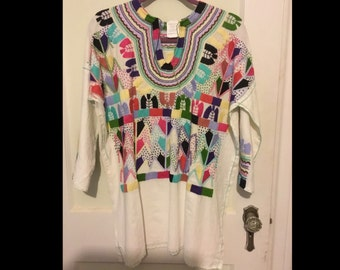 Mexican Made Embroidery Multi Color Tunic Size L
