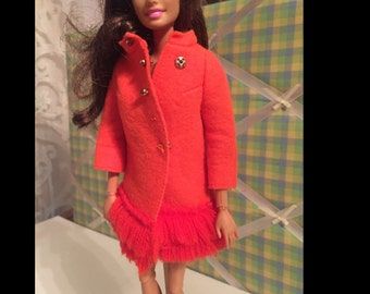 Barbie Doll Vintage Orange Coat #1789
