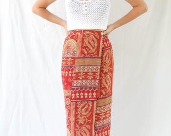 vintage printed abstract wrap skirt
