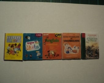 5 miniature school books, 1/12th scale