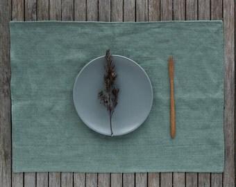 Linen Tablemats Set, Linen Placemats Set, Green Linen Placemats, Washed Linen Placemat, Table Linen, Washed Linen Placemats, Green Placemats