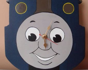 Thomas the tank wall clock/wooden themed clock/handmade wall clock