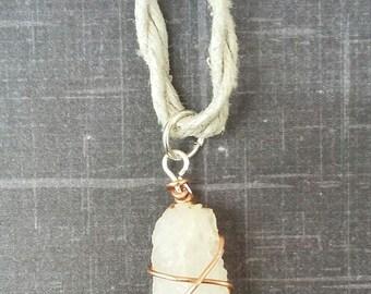 Rough Quartz Pendant On Hemp Necklace