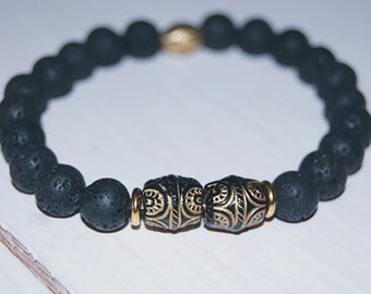 Black Lava Bracelet with Tribal Accent Beads