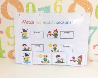 Seasons matching learning sheet, Early years, Interactive game, Visual learner, Children's development, Teaching resource, Learn seasons