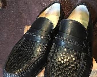 Stafford mens size 10 penny loafers black