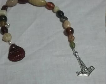 Viking  look beads with Thor's Hammer.  Mjolnir.
