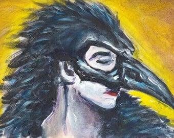 For the Blackbird Women -- Matted print of an original painting