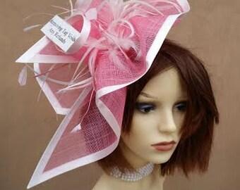 Large Pink & White Fascinator