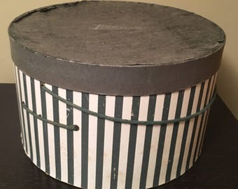 Vintage, striped hat box, Timberlake's Inc, Staunton, VA