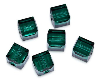 Swarovski Crystal Cube Emerald Beads 5601- Available in 4mm, 6mm