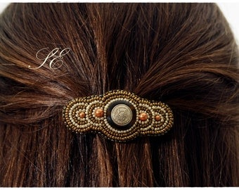 Bead Embroidery Barrette, Hair Accessory.