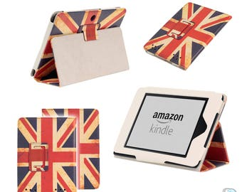 Vintage Union Jack Flag Luxury Leather Smart Case Cover Wallet for Amazon Kindle Touch & Paperwhite 5