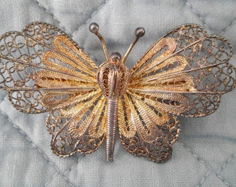 Vintage Filigree Sterling Vermeil Butterfly Brooch