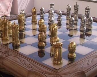 Tigrani Faces Version #1 Sterling Silver Chess set