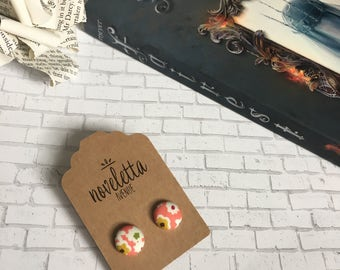 Lunar Sunset | fabric covered stud earrings inspired by the Lunar Chronicles books | orange earrings