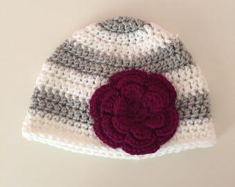 Crochet Baby Hat, Crochet Hat with Flower, Baby Girl Hat, Striped Baby Hat