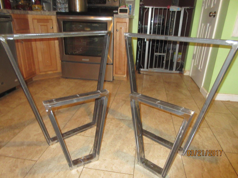 steel table base trapezoid custom sizes industrial look. Black Bedroom Furniture Sets. Home Design Ideas