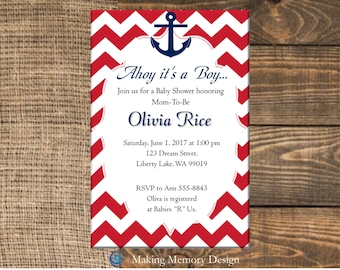 Nautical Navy Anchor Baby Boy Baby Shower Invitation (Instant Download Copy)