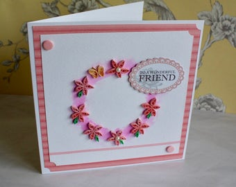 Birthday Card, Greetings Card, Friend Card, Pink Card, Quilled Card, Quilling, Flower Card, Pretty Card, Thank You Card