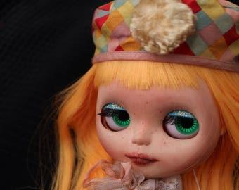 OOAK Clown Blythe doll Orange hair with sparkly blue eyelids
