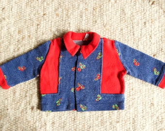 70's / baby / jacket, vest / brand Natalys Paris / blue and Red / motorcycles patterns
