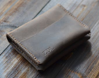 Personalized Minimalist Modern Leather Card Wallet, Distressed Leather Bifold Wallet, Bifold Cardholder, Leather Wallet, Chestnut Brown