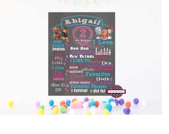 Paw Patrol Birthday Board File/Paw Patrol Theme/Pink and Blue Birthday/First Birthday