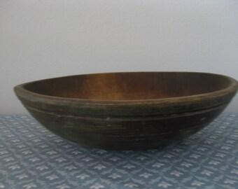 A Large Rustic Primitive Farmhouse Dough Bread Wooden Mixing Bowl