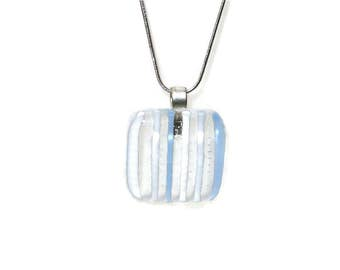Clear, blue & white fused glass pendant with tiny bubbles