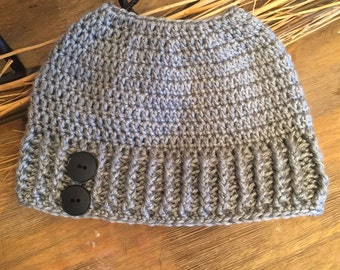 PDF PATTERN ONLY Easy Peasy Messy Bun Hat Pattern **Child Size & Teen/Adult Size**