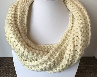 Cream crochet twisted cowl, cream cowl, cream scarf, cream crochet cowl, white cowl, white infinity scarf, handmade by AHappyLittleHook