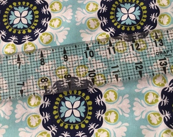 Blue medallion fabric bty