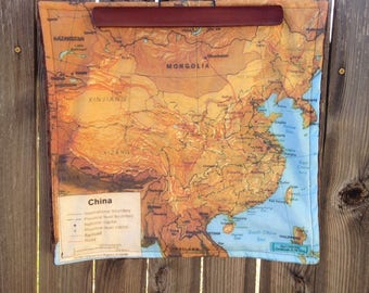 China map blanket - Chinese map baby minky security blankie - small travel blanky, lovie, lovey, woobie - 16.5 by 16 inches