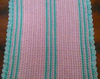 Mint and pink baby blanket
