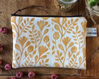 Ochre floral print pouch - handmade & hand printed