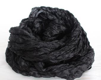 Black Ruffled Silk Scarf | 100% Handmade Silk | Gift for Her