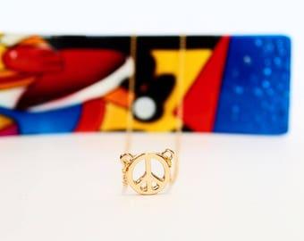 Gold Peace Sign Necklace | Adjustable 14k Gold Plated | Minimalist Gold Peace Sign Necklace