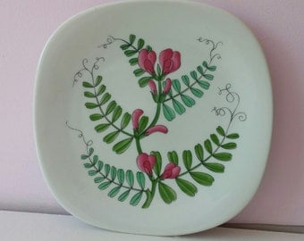 Swedish Rörstrand white, pink, green, flower plate, porcelain china dish, kitchen home decor, Scandinavian gift