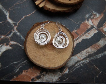 Silver 'Tempest' swirl earrings