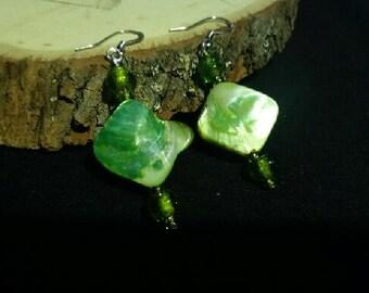 Green shell glass beaded earrings