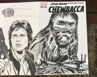 Star Wars - Chewbacca #1 ORIGINAL ARTWORK Variant Sketch Cover Comic Book Featuring Han Solo