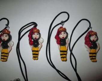 Chibi Queen Bee Polymer Clay Charm
