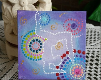Purple Yoga 10cm x 10cm Acrylic on canvas board. Comes with display stand