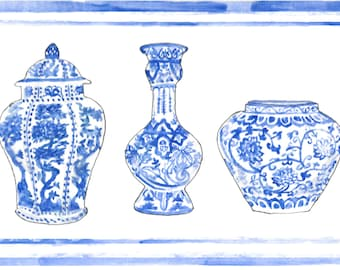 chinese vases hand drawn watercolor illustration