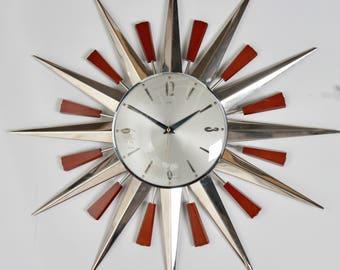 Large Metamec Sunburst Clock, Vintage Mid-Century 1960s