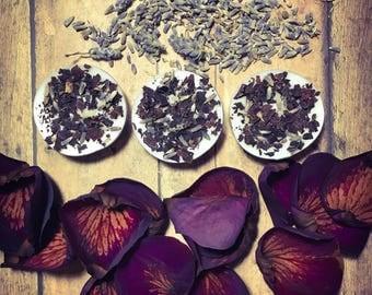 Six Handmade Rose and Lavender tea light candles, Meditation candles, Rose petal tea light,Lavender tea light, spell candles,Lavender candle